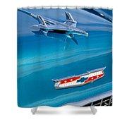 1955 Chevrolet Belair Hood Ornament 7 Shower Curtain by Jill Reger