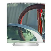 1955 Ford Thunderbird Steering Wheel Shower Curtain by Jill Reger