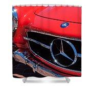 1955 Mercedes-benz 300sl Gullwing Grille Emblems Shower Curtain by Jill Reger
