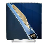 1955 Studebaker President Hood Emblem Shower Curtain by Jill Reger