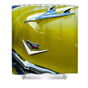 1956 Chevrolet Hood Ornament 3 Shower Curtain by Jill Reger