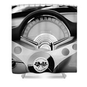 1957 Chevrolet Corvette Convertible Steering Wheel 2 Shower Curtain by Jill Reger