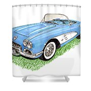 1959 Corvette Frost Blue Shower Curtain by Jack Pumphrey