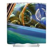1960 Aston Martin Db4 Series II Steering Wheel Shower Curtain by Jill Reger