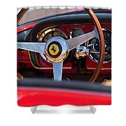 1960 Ferrari 250 Gt Cabriolet Pininfarina Series II Steering Wheel Emblem Shower Curtain by Jill Reger