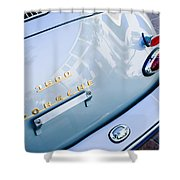 1960 Porsche 356 B 1600 Super Roadster Rear Emblem - Taillight Shower Curtain by Jill Reger