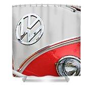 1960 Volkswagen Vw 23 Window Microbus Emblem Shower Curtain by Jill Reger