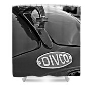 1965 Divco Milk Truck Hood Ornament 3 Shower Curtain by Jill Reger