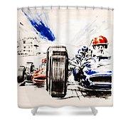 1965 Grand Prix De Paris Shower Curtain by Georgia Fowler