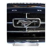 1965 Shelby Prototype Ford Mustang Hood Ornament Shower Curtain by Jill Reger