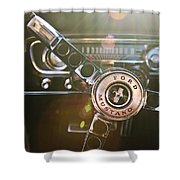 1965 Shelby Prototype Ford Mustang Steering Wheel Emblem Shower Curtain by Jill Reger