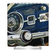 1965 Volkswagen Vw Beetle Steering Wheel Shower Curtain by Jill Reger