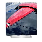 1966 Chevrolet Corvette Hood Emblem Shower Curtain by Jill Reger