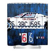 1966 Ford Gt40 License Plate Art By Design Turnpike Shower Curtain by Design Turnpike