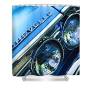 1967 Chevrolet Chevelle Malibu Head Light Emblem Shower Curtain by Jill Reger