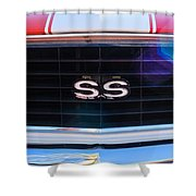 1969 Chevrolet Camaro Rs-ss Indy Pace Car Replica Grille Emblem Shower Curtain by Jill Reger