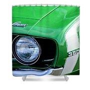 1969 Chevrolet Camaro Ss Headlight Emblems Shower Curtain by Jill Reger