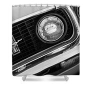 1969 Ford Mustang Boss 429 Grill Emblem Shower Curtain by Jill Reger