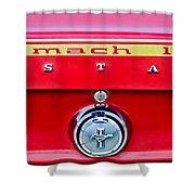 1969 Ford Mustang Mach 1 Rear Emblems Shower Curtain by Jill Reger
