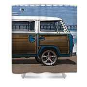 1970 Vw Bus Woody Shower Curtain by Mike McGlothlen