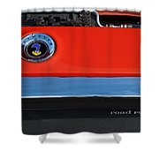 1972 Plymouth Road Runner Hood Emblem Shower Curtain by Jill Reger