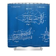 1975 Space Shuttle Patent - Blueprint Shower Curtain by Nikki Marie Smith