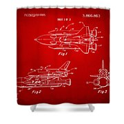 1975 Space Shuttle Patent - Red Shower Curtain by Nikki Marie Smith