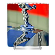 1976 Rolls Royce Silver Shadow Hood Ornament Shower Curtain by Jill Reger