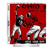1979 Ohio State Vs Wisconsin Football Ticket Shower Curtain by David Patterson
