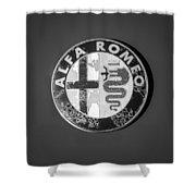 1986 Alfa Romeo Spider Quad Emblem Shower Curtain by Jill Reger