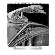 1931 Chevrolet Hood Ornament Shower Curtain by Jill Reger