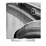 1941 Packard 1907 Custom Eight One-eighty Lebaron Sport Brougham Side Emblems Shower Curtain by Jill Reger