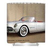 1953 Corvette Classic Vintage Sports Car Automotive Art Shower Curtain by John Samsen