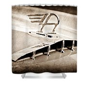 1957 Austin Cambrian 4 Door Saloon Hood Ornament Shower Curtain by Jill Reger