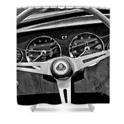 1965 Lotus Elan S2 Steering Wheel Emblem Shower Curtain by Jill Reger