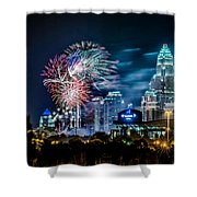 4th Of July Firework Over Charlotte Skyline Shower Curtain by Alexandr Grichenko