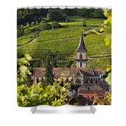 Alsace Church Shower Curtain by Brian Jannsen