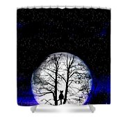 Black Cat On Tree Shower Curtain by Nina Ficur Feenan