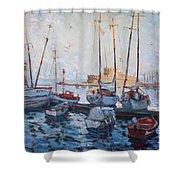Boats In Rhodes Greece  Shower Curtain by Ylli Haruni