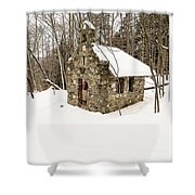 Chapel In The Woods Stowe Vermont Shower Curtain by Edward Fielding