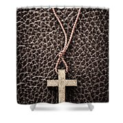 Christian Cross On Bible Shower Curtain by Elena Elisseeva