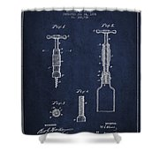 Corkscrew Patent Drawing From 1884 Shower Curtain by Aged Pixel