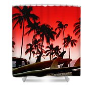 Fins N' Palms Shower Curtain by Sean Davey