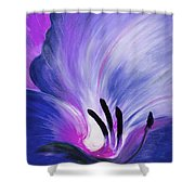 From The Heart Of A Flower Blue Shower Curtain by Gina De Gorna