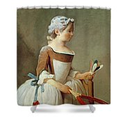 Girl With Racket And Shuttlecock Shower Curtain by Jean-Baptiste Simeon Chardin