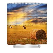 Golden Sunset Over Farm Field With Hay Bales Shower Curtain by Elena Elisseeva