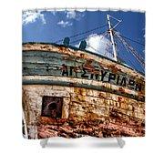 Greek Fishing Boat Shower Curtain by Stelios Kleanthous