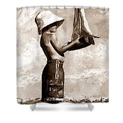 Little Boy In The Beach Shower Curtain by Emerico Imre Toth