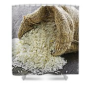 Long Grain Rice In Burlap Sack Shower Curtain by Elena Elisseeva