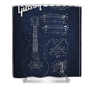 Mccarty Gibson Stringed Instrument Patent Drawing From 1969 - Navy Blue Shower Curtain by Aged Pixel